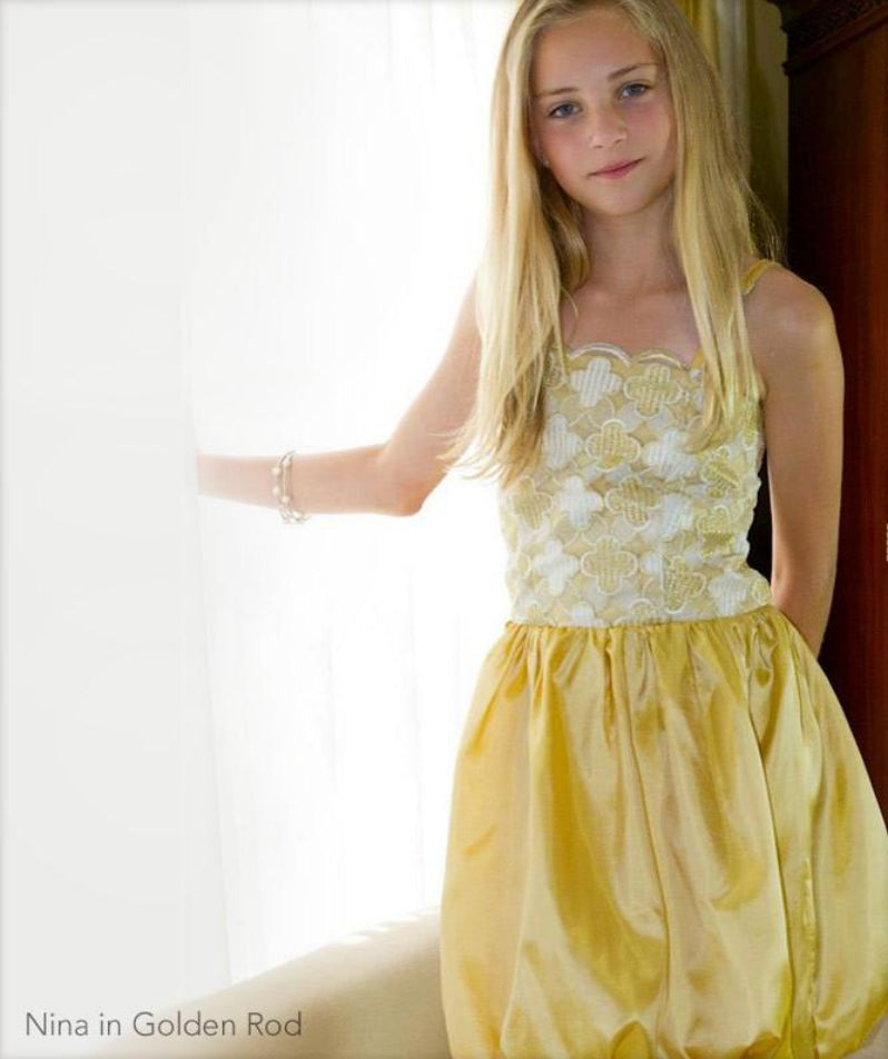 Party Dress with Straps and Embroidered Lace and Taffeta Yellow