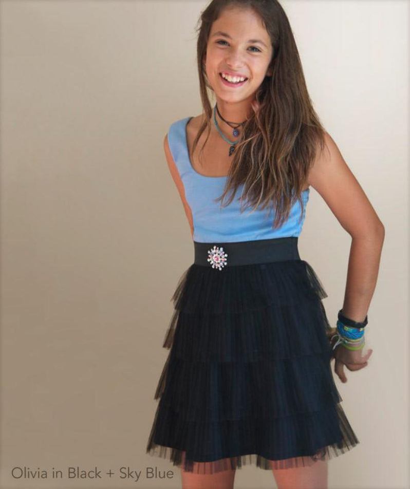 Service Dress Pleated Layers with Brooch and Tulle Blue Black