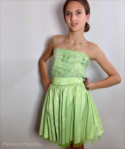 Formal Party Dress Strapless Tube Top Fit and Flare Pistachio