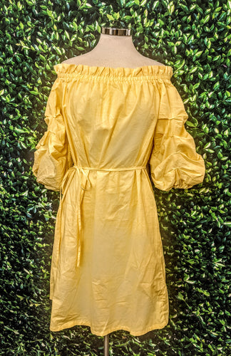Yellow New York & Co. Off The Shoulder Puff Sleeve Dress L