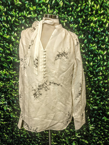 White House Black Market Silk-Blend Floral Print Blouse