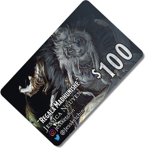 Load image into Gallery viewer, $100 Gift card depicting a white tiger Rakshasa in elegant garb.