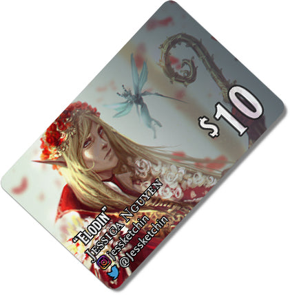 Load image into Gallery viewer, $10 Gift card depicting an elven prince and fairy