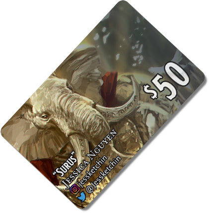 Load image into Gallery viewer, $50 Gift card depicting a white Loxodon in golden armor