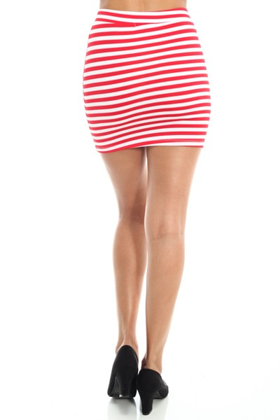 Pink and White Striped Mini Bodycon Skirt