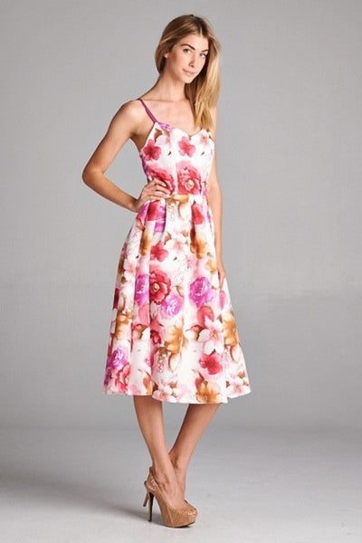 Floral Print Cocktail Dress Scuba Midi Length l Blissfully Beautiful Boutique