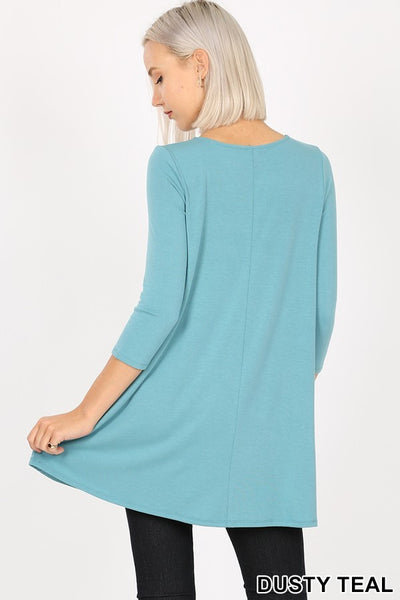 Women's Long Sleeve V-Neck Flared Top with Side Pockets, womens tops and blouses, long sleeve shirts womens, extra long tunics for leggings, tunic tops for leggings , designer tops for women's, long women's blouses, long dress shirts for leggings, long shirt dress, long sleeve shirt dress, t-shirt dress, womens shirts with side pockets