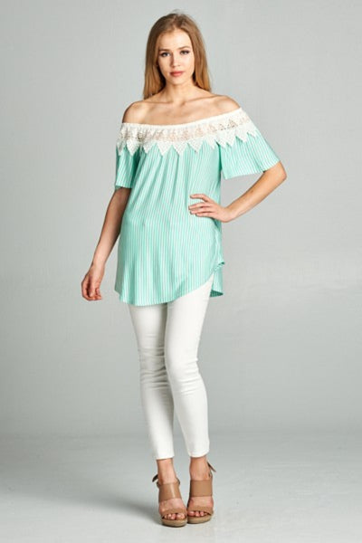 Women's Mint Color Off Shoulder Striped Tunic Top with Lace | Blissfully Beautiful Boutique