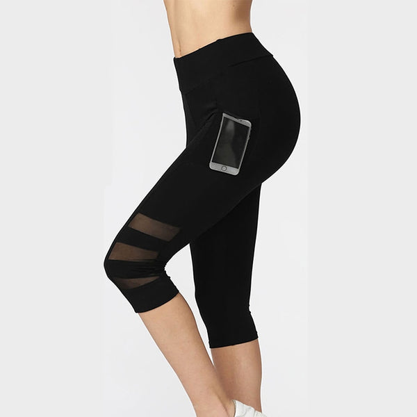 Patchwork Mesh Capri Leggings with Pockets