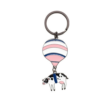 Animal Hot Air Balloon Cow Key Chain By 八涂 BaTu