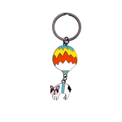 Animal Hot Air Balloon French Bulldog Key Chain By 八涂 BaTu