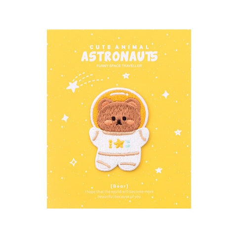 Astronaunt Animal [Brown Bear] Embroidered Sticker & Iron-On Patch