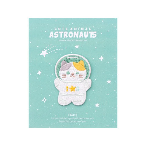 Astronaunt Animal [Cat] Embroidered Sticker & Iron-On Patch