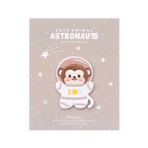 Astronaunt Animal [Monkey] Embroidered Sticker & Iron-On Patch