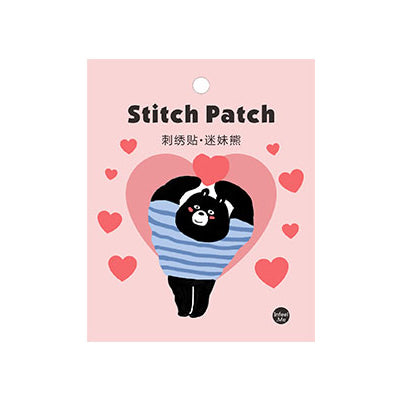 Black Bear Club [In Love Bear] Embroidered Sticker Patch