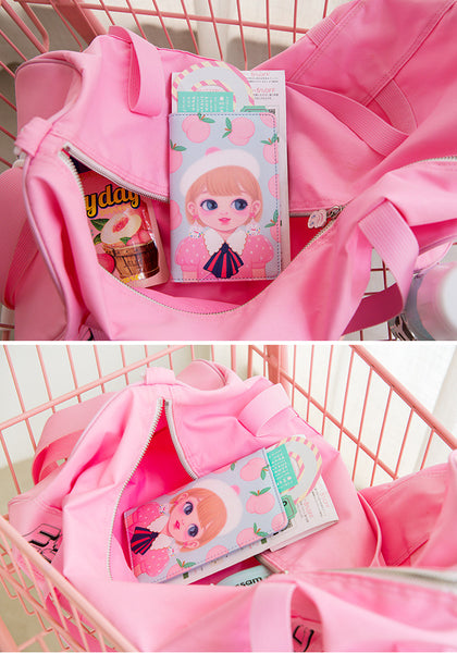 Dolly Girl [Blue Peach] Passport Cover Holder By Milkjoy
