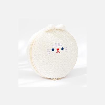 Bobo [White Cat] Round Cosmetic Pouch By Milkjoy