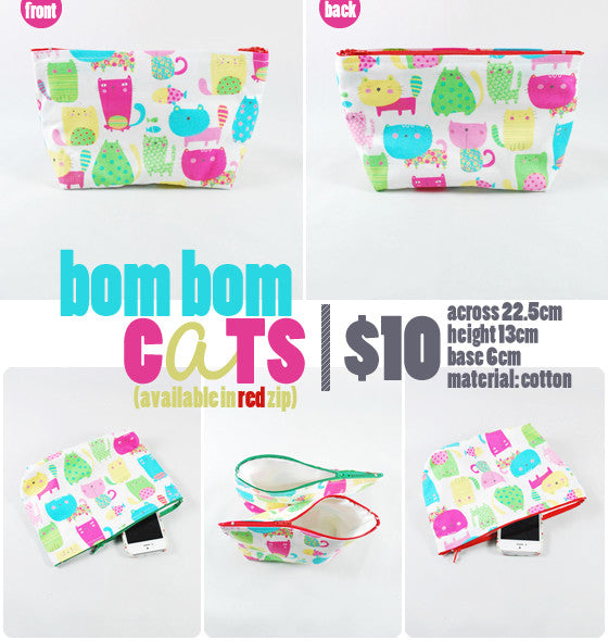 [Bom Bom Cats] Zip Pouch