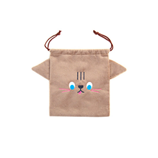 Cutie Brown Cat Drawstring Pouch By Bentoy