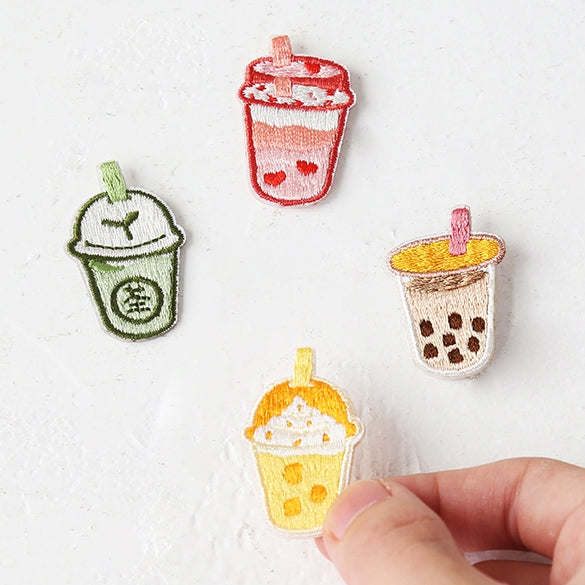 Bubble Tea [Matcha Milk Tea] Embroidered Sticker & Iron-On Patch