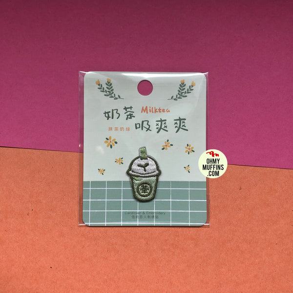 Bubble Tea Matcha Milk Tea Embroidered Sticker & Iron-On Patch