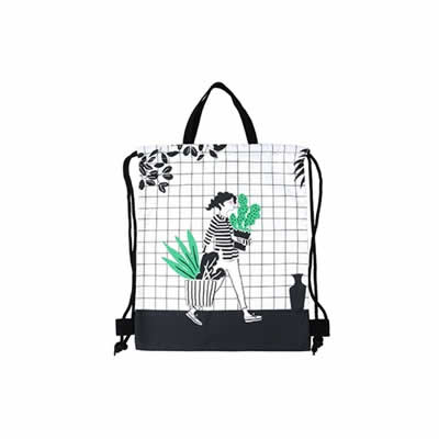 Cactus Girl Drawstring Backpack By Colourup