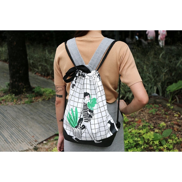 Cactus [Girl] Drawstring Backpack By Colourup