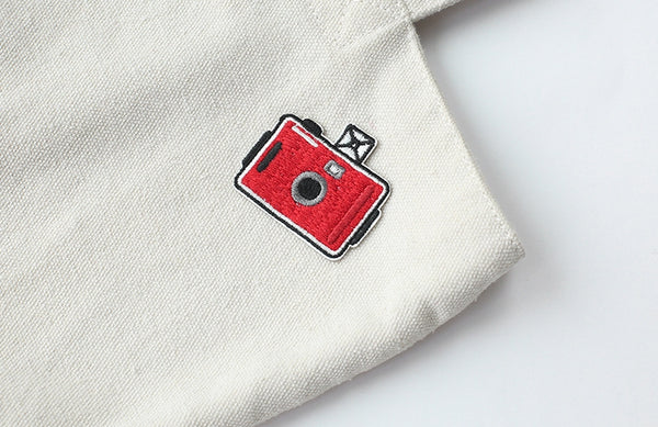 Vintage Camera [Red] Embroidered Sticker Iron-On Patch