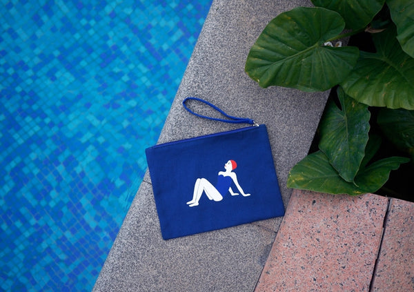 Canvas Swimsuit Girl Flat Pouch By YIZI STORE