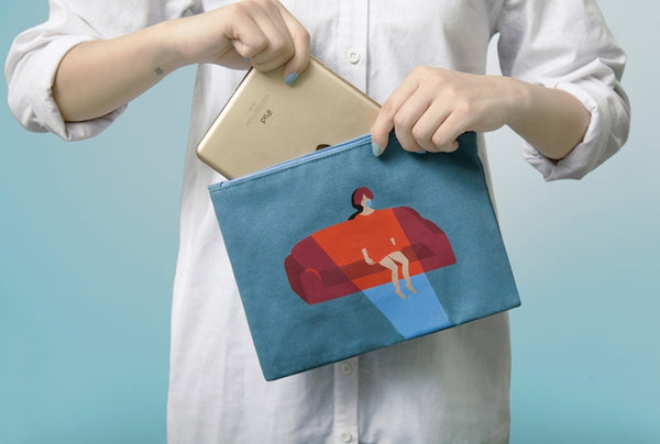 Canvas Watching TV Flat Pouch By YIZI STORE