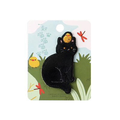 Cat Black Cat & Chick Embroidered Sticker Patch