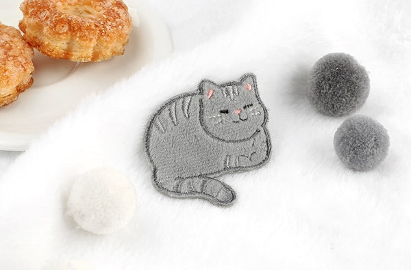 Cat Grey Tabby Cat Embroidered Sticker & Iron-on Patch