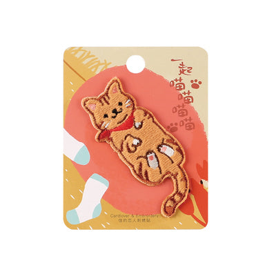 Cat Orange Tabby Cat Embroidered Sticker Patch