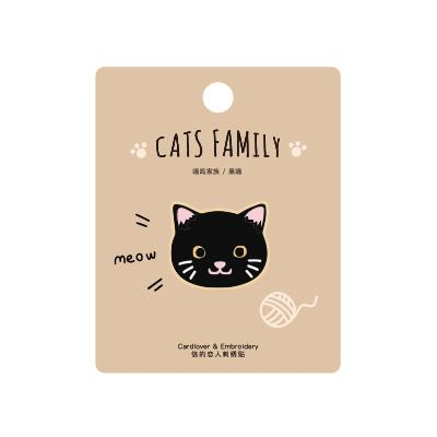 Cat Family Black Cat Embroidered Sticker Patch