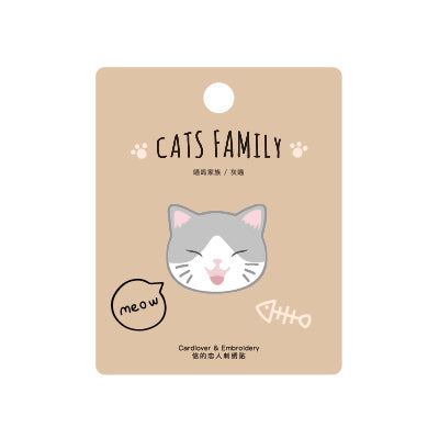 Cat Family Grey Cat Embroidered Sticker Patch