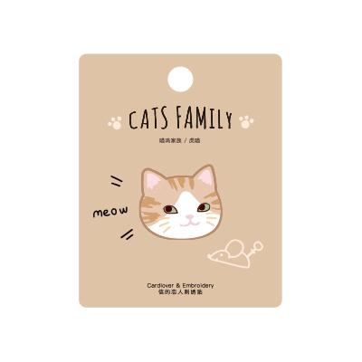 Cat Family Striped Orange Cat Embroidered Sticker Patch