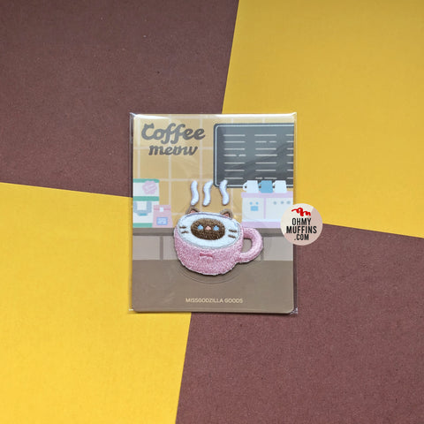 Coffee Cat [Cappuccino] Embroidered Sticker & Iron-On Patch