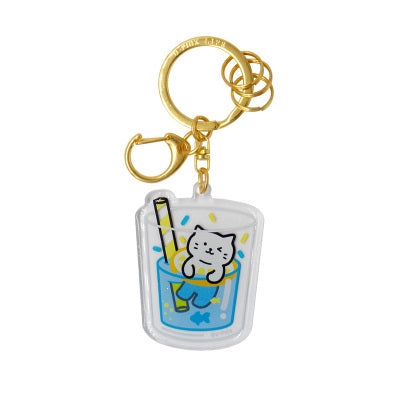 Cold Drink Cat [Blue Lagoon] Key Chain By U-Pick