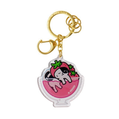Cold Drink Cat [Strawberry Jelly] Key Chain By U-Pick