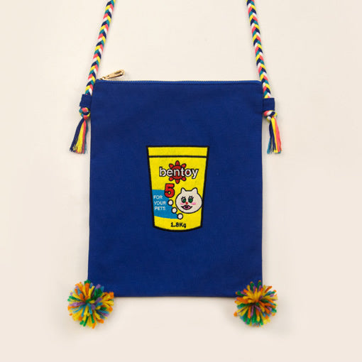 Convenience Store Pet Food Embroidered Sling Bag By Bentoy