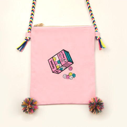 Convenience Store Popcorn Embroidered Sling Bag By Bentoy