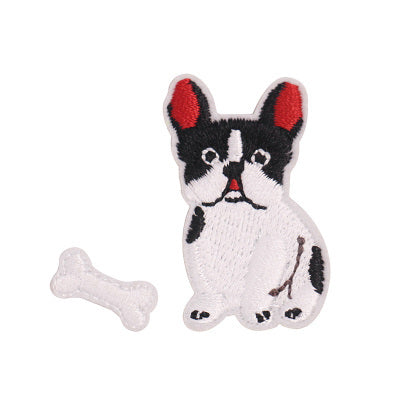 Dog [French Bulldog & Bone] Embroidered Sticker Iron-On Patch