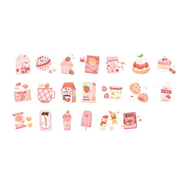 Cute Food Strawberry Ice Stickers Pack