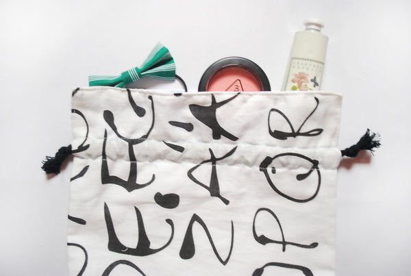 [Alphabet] Drawstring Pouch (3 Sizes)