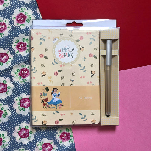 Disney Princess Belle Yellow Planner Book & Pen Set