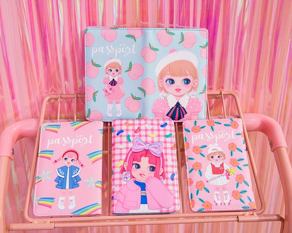 Dolly Girl [Blue Peach] Passport Cover By Milkjoy