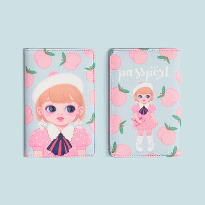 Dolly Girl Blue Peach Passport Cover By Milkjoy
