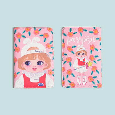 Dolly Girl Orange Flowers Passport Cover By Milkjoy