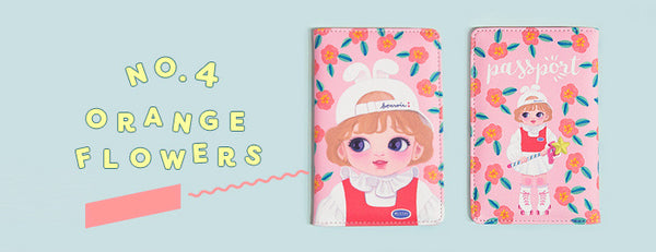 Dolly Girl [Orange Flowers] Passport Cover Holder By Milkjoy