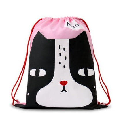Drawstring [Black White Cat] Backpack By U-Pick